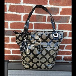 COACH BLACK/GREY TOTE EXCELLENT USED CONDITION